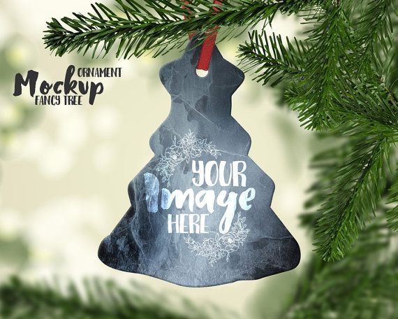 Fancy Tree Shaped Christmas Ornament by styledproductmockups