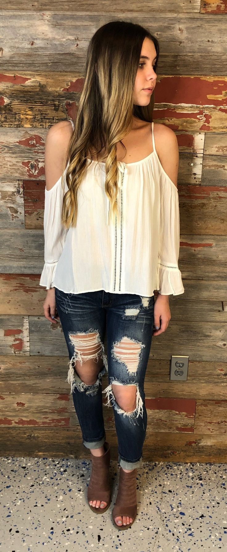 Gathering Glances Cold Shoulder Top: White from privityboutique