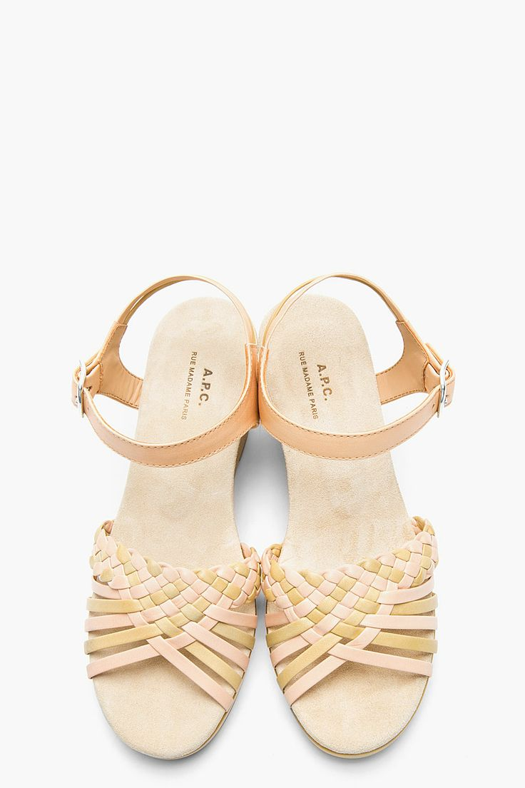 A.P.C. Beige braided leather wedge sandals