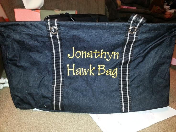 Jonathyn's Hawkeye Large Utility tote he chose to match