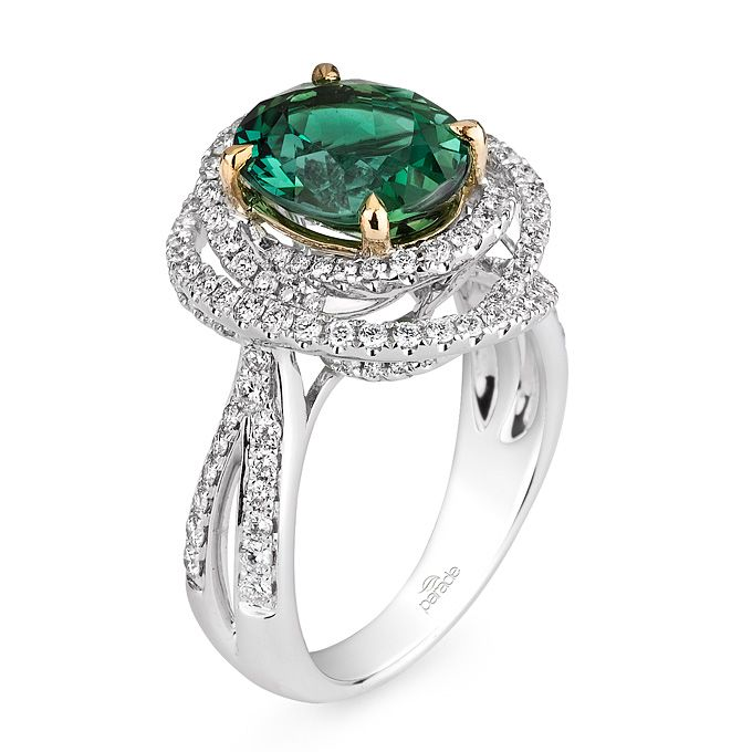 Beautiful Style R green tourmaline and diamond ring