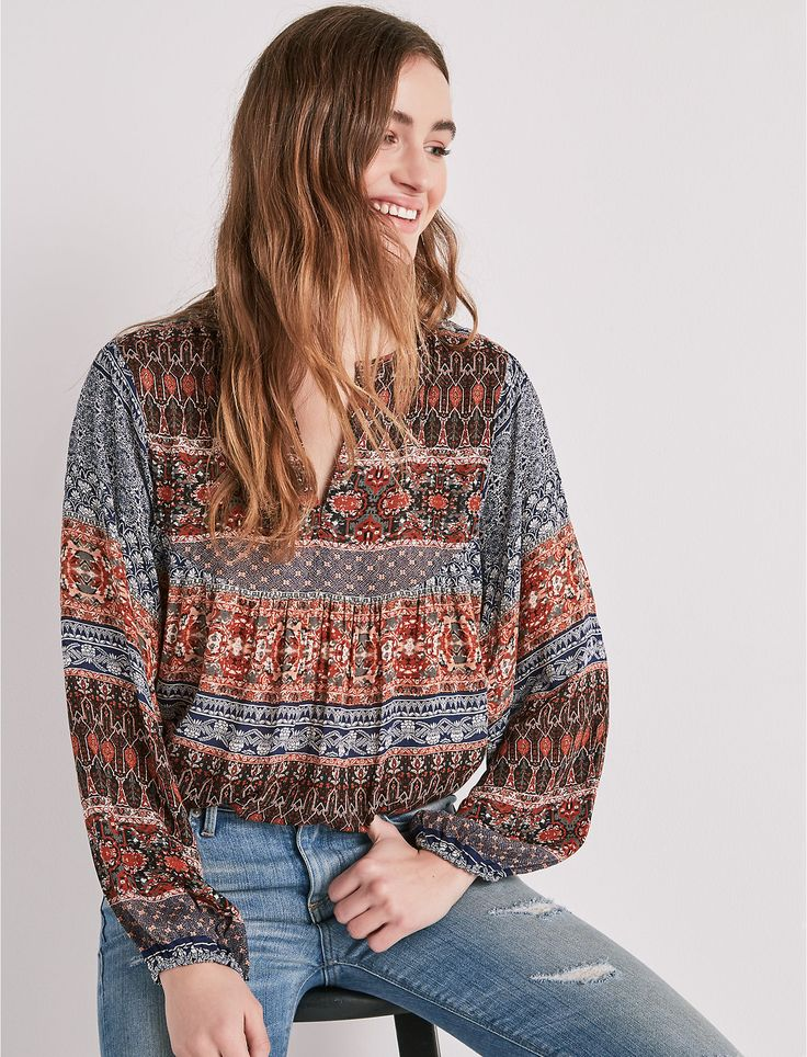 Find border print peasant top and more at Lucky Brand. Shop now and receive free shipping on orders over $50.