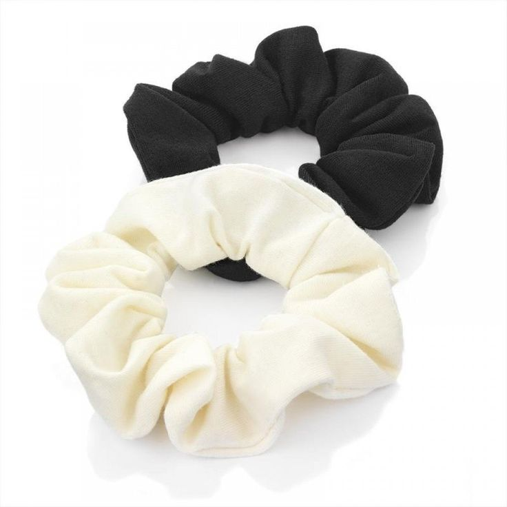 Pair of Black and Cream Plain Jersey Hair Scrunchies Bobbles Elastic Hair Bands * You can find out more details at the link of the image.
