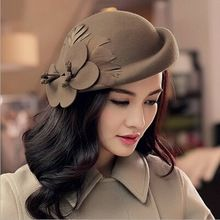 2016 Fashion New Vintage Women Ladies Hat Stewardess Cap Wool Felt Fedora Felt Hat Cap 6 Color Chapeu Feminino Free Shipping(China (Mainland))