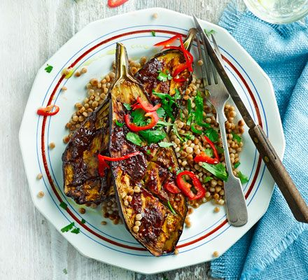 A really easy low-fat, low-calorie aubergine recipe with delicious umami flavours. This dish is so rich and meaty, it's hard to believe it's vegan!