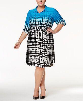 Calvin Klein Plus Size Printed Shirtdress