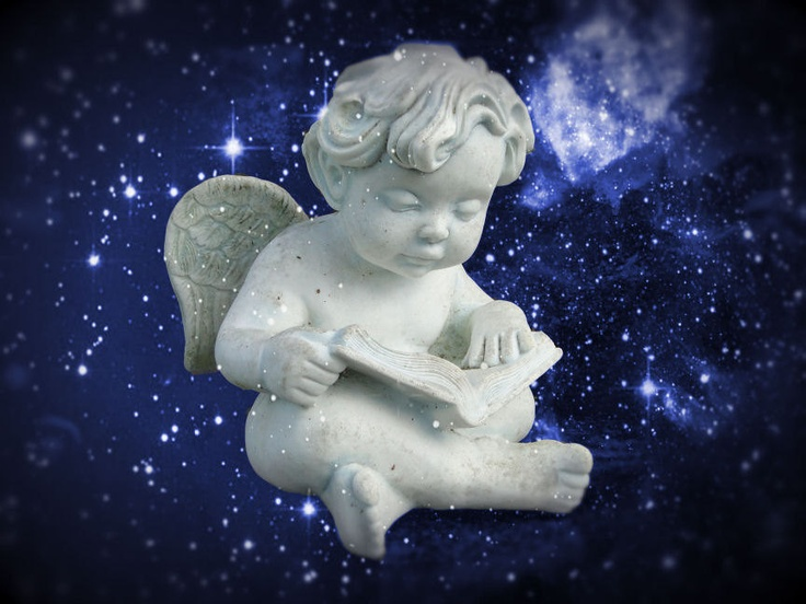 Little Reading Angel Blue Magical Mystical Angelic.Appx. $29.50 , via Etsy.