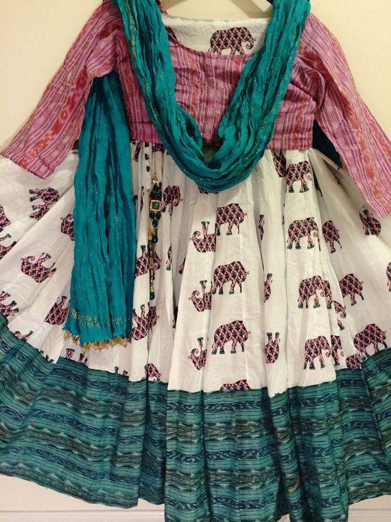 Original, one of a kind bohochic gopi skirt set in an elephant block print design. The skirt is super flared and in soft cotton, with a large ikat