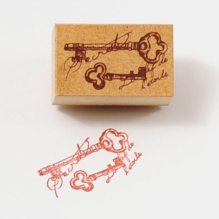 蚤の市スタンプ-【かわいいスタンプ ハンコ スタンプ アンティークスタンプ 二本の鍵 鍵】【手作り雑貨・手芸用に最適。】   先生スタンプ・アルファベットスタンプ販売 愛タグスタンプ
