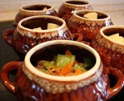 Овощи с грибами в горшочках (постное блюдо)