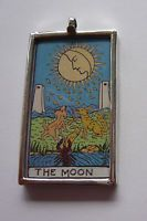 HAND PAINTED gorgeous sterling silver The Moon Tarot pendant, available today on eBay but extremely limited quantities so don't miss out!http://www.ebay.ca/itm/Tarot-Card-Handpainted-Artisan-Pendant-Sterling-Silver-The-Moon-/191191819989?pt=Handcrafted_Artisan_Jewelry&hash=item2c83eba6d5
