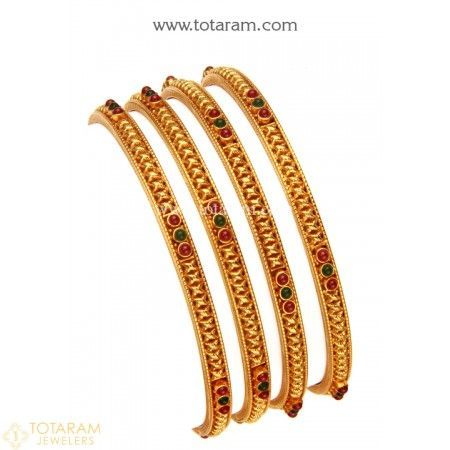 22K Gold Bangles - Set of 4 (2 Pair) (Temple Jewellery)  - 235-GBL1221 - Buy this Latest Indian Gold Jewelry Design in 49.400 Grams for a low price of  $2,712.60