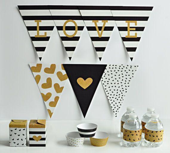 Imprimir su propio partido - negro, blanco y banner oro alfabeto, envolturas de la Magdalena, etiquetas de bebidas y cajas de regalo