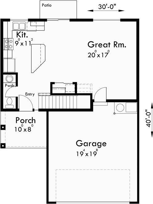 Main Floor Plan For 10179 Affordable 2 Story House Has 4 Bedrooms And 25 Bathrooms