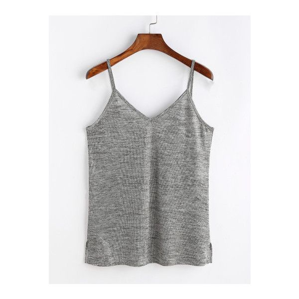 SheIn(sheinside) Grey Marled Side Slit Cami Top ($6) ❤ liked on Polyvore featuring tops, grey, grey tank, spaghetti strap tank tops, v neck tank, grey cami and v-neck tank tops