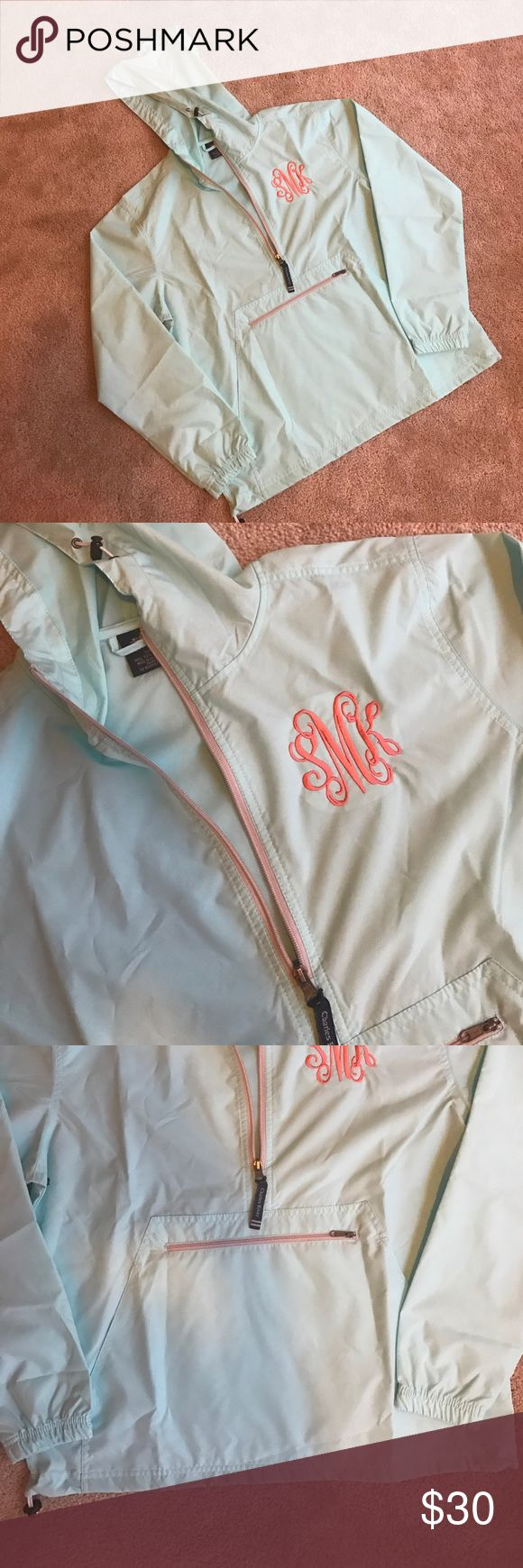 "Brand New Monogramed ""SMK"" Rain Jacket Brand new blue lightweight rain jacket with monogram ""SMK"" on it. Never worn. Monogram is a coral color. Charles River Jackets & Coats"