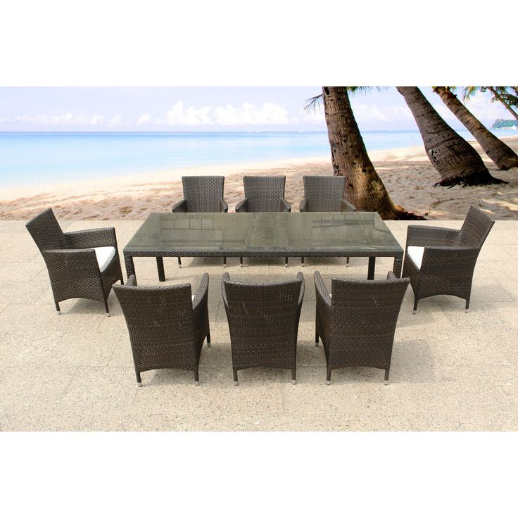 Italy 220 Wicker Patio Table And Chairs Outdoor Dining Set For 8 By Beliani  (Italy 220 Set), Brown, Size 9 Piece Sets, Patio Furniture (Aluminum)