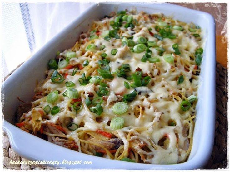 Spaghetti zapiekane z kurczakiem