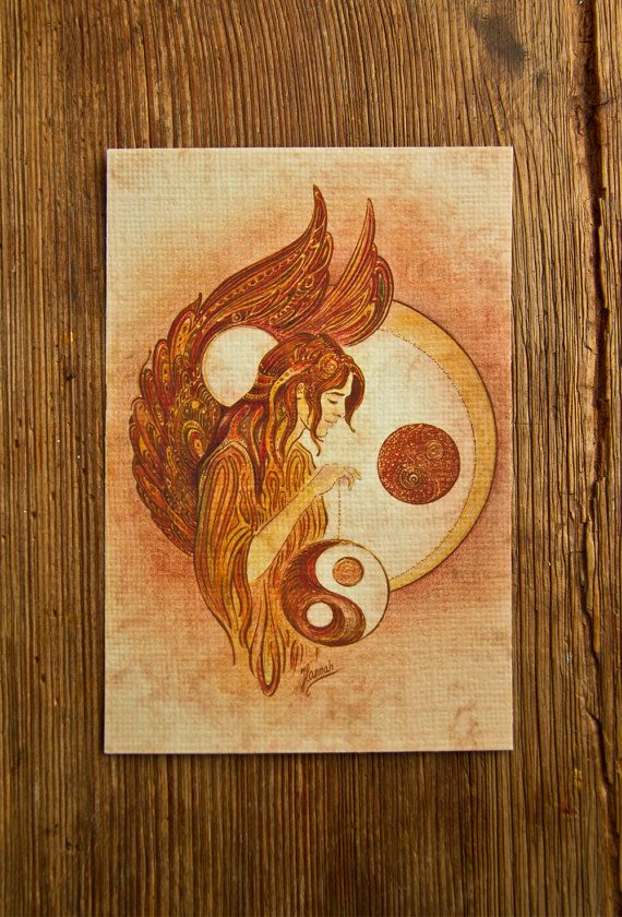 1/LIBRA Yin Yang Zodiac Sign angel protection by AnnaHannahArt