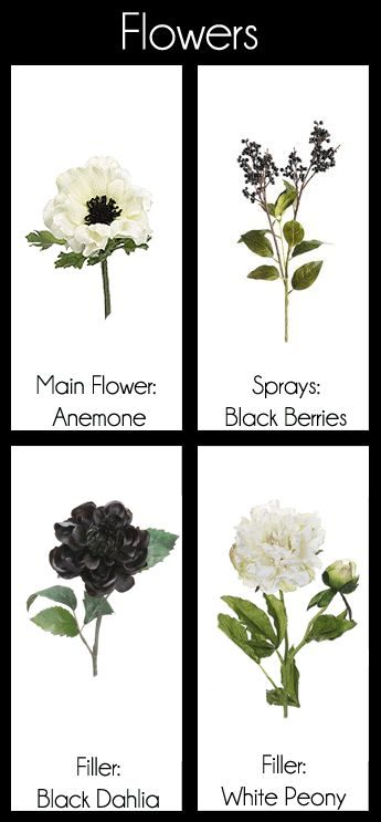 My Storyboard Design  - Black & White Flower Bouquet Boutonniere Anemone Berries Dahlia Peony