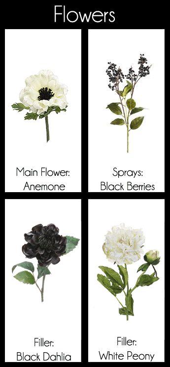 My Storyboard Design  - Black & White Flower Bouquet Boutonniere Anemone Berries Dahlia Peony