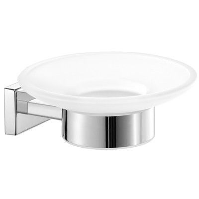 SCBA Enigma Wall Mounted Soap Dish Holder Frosted Glass Tray Soap Holder - Brass