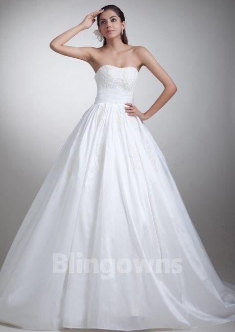 Sweep Appliques Sweetheart White A-line Sleeveless Zipper Taffeta Wedding Dresses