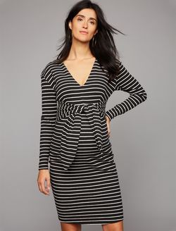 a771bebca497e Tie Front Stripe Maternity Dress, Black/White Stripe | maternity ...