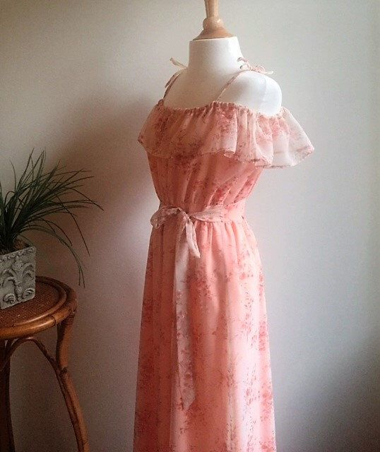 Ruffled 70s vintage Boho Maxi Dress Bohemian Chiffon Floral Print Hippie Romantic 1970s Spring Vacation Sun Dress Sunset Pink Peach Gown by StrangeDameVintage on Etsy https://www.etsy.com/listing/480146524/ruffled-70s-vintage-boho-maxi-dress