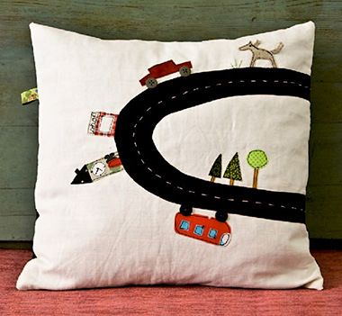 On-the-Road-Pillow applique