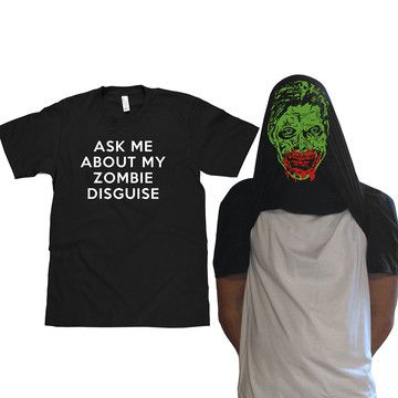 Oh this is so awesome.   Zombie Face Flip Up Men's Tee