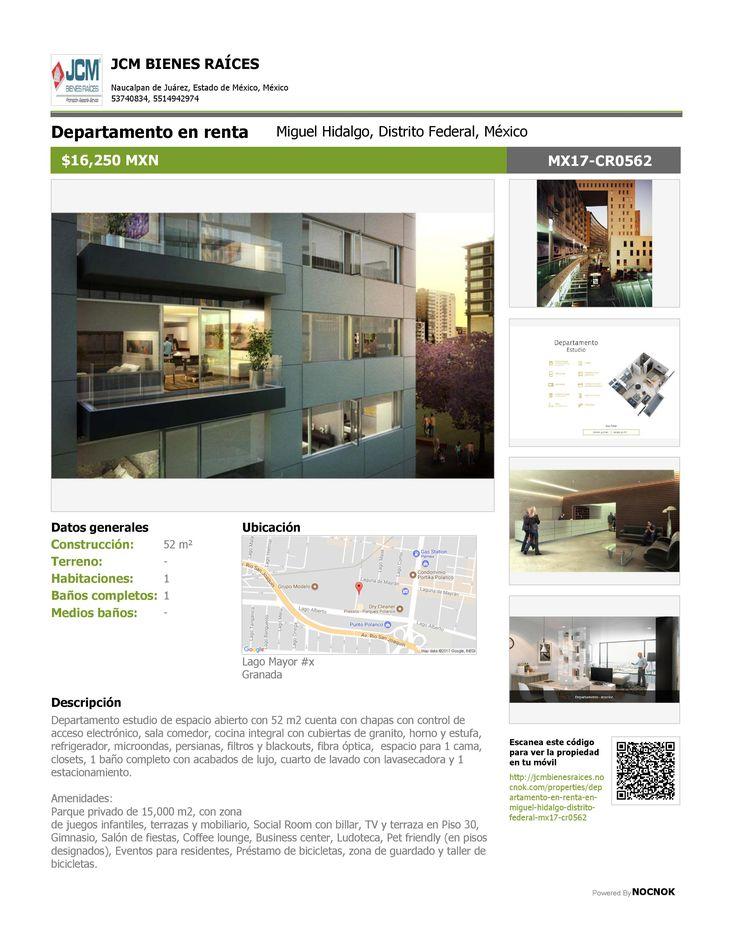 MXN   MX17-CQ2753 Departamento en renta Granada, Miguel Hidalgo, Distrito Federal, México $16,250 MXN Oficina: (55) 53740834