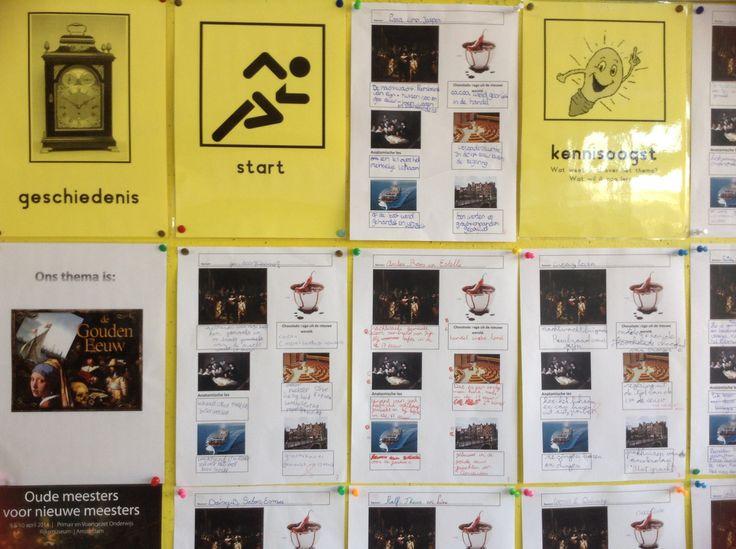 Activeren voorkennis in groepjes (kind uit gr 6, 7 en 8). Opdracht; 'wat hebben deze 6 foto's met de Gouden Eeuw te maken?'