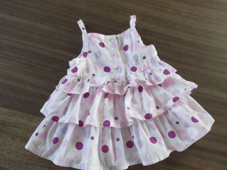 Baby girls vintage white, pink & lilac circle themed sundress, 0-3 months