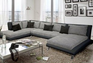 Canapé d'angle design LUBERON en PU et tissu coloris noir et gris