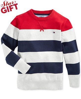 Tommy Hilfiger Little Boys' Neil Striped Crew-Neck Sweater in gray, yellow, navy combo