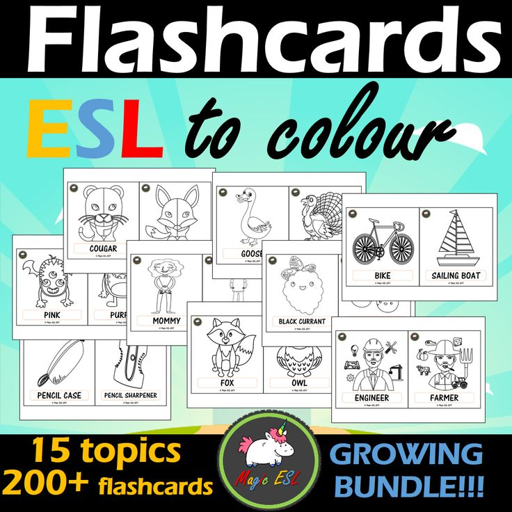 15 topics of black&white flashcards for colouring ;)
