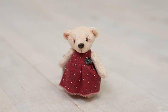 Teddy bear miniature Little Lady in red dress 9.5 cm