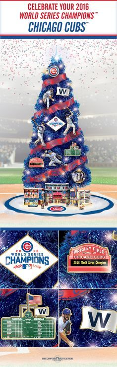"""Fly the """"W"""" this holiday season with a Chicago Cubs Christmas tree collection. This handcrafted 3-foot, pre-lit tree honors the teams epic 2016 World Series victory and includes an illuminated stadium sculpture, a free tree skirt and more."""