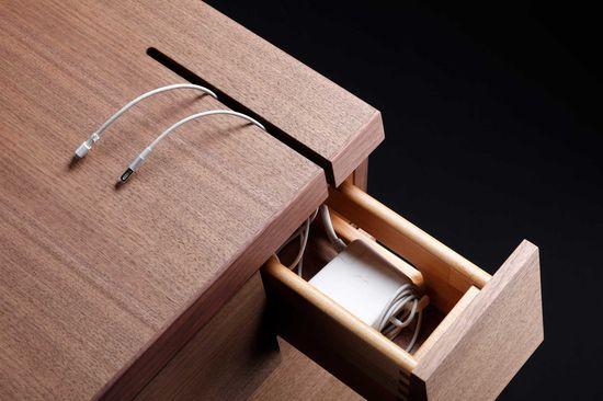 Power cable storage. Desk Idea.