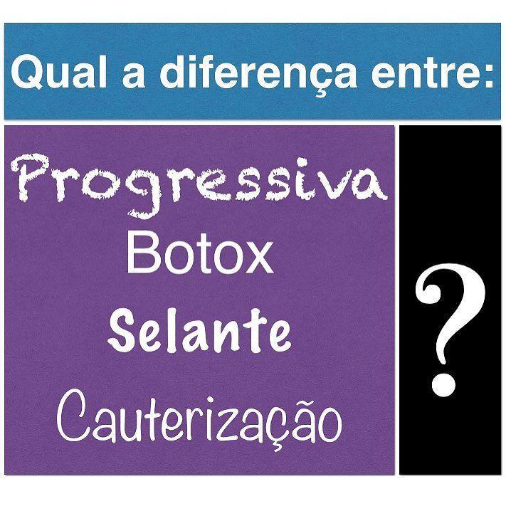 Confusão à vista!!  Com tantas empresas lançando produtos que fazem o mesmo serviço a estratégia foi dar nomes diferentes e chamativos. O apelo de marketing acaba confundindo o consumidor e até os profissionais da beleza. _________________ Afinal de contas qual a diferença entre: Reconstrução Cauterização Selante Botox Progressiva ___________ Nossa!  ___________ São tantos os nomes e ainda eles colocam nomes fantasiosos como escova de cacau plástica dos fios escova japonesa botox japonês e…