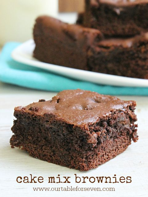 Yes, I did it again. Made something from a cake mix. Don't hate me, OK? Today, we have brownies. Yes, you could just buy a box of brownie mix. But, imagine you have a brownie emergency and no way to
