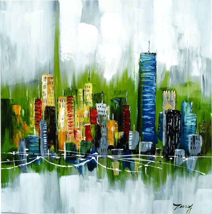 """""""Urban Lines"""" City Scape Oil Painting on Canvas"""
