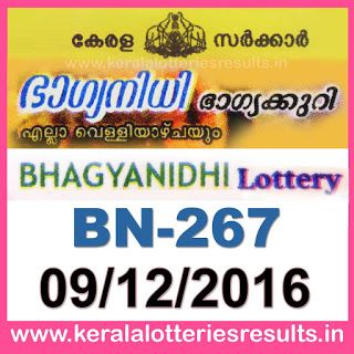 Today's Lottery Result : 11/12/2016 POURNAMI (RN-266) : Kerala Lottery Result Today: Bhagyanidhi Lottery Results