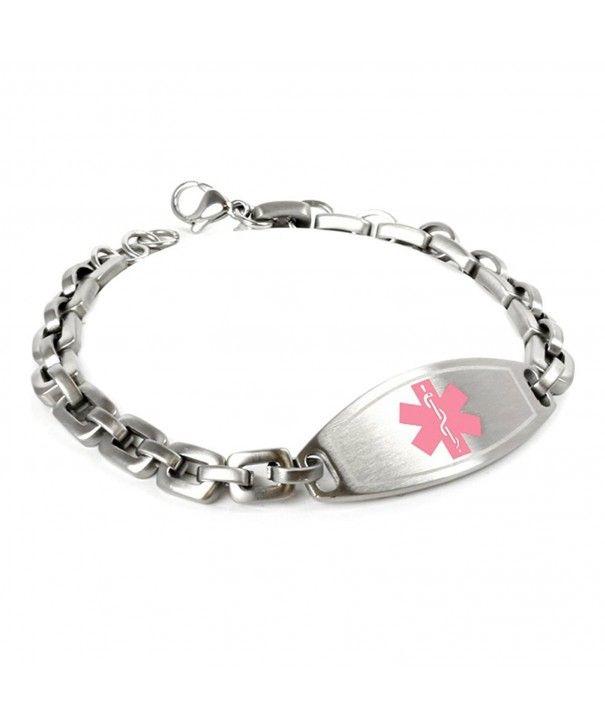 Myiddr Customized Free Engraving Medical Alert Bracelet 316l 7mm Steel Matte Links Ca125g56v53 Medic Alert Bracelets