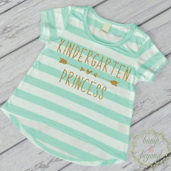 First Day of School Shirt, Kindergarten Shirt,  1st Day of Kindergarten, Kindergarten Princess Shirt for Girls by Bump and Beyond Designs
