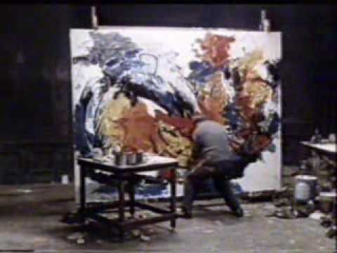 'Karel Appel painting in his studio, 1962, put an incredible energy on his canvas.