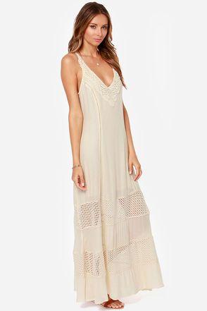 Cute Light Beige Dress - Maxi Dress - Boho Dress - Crochet Dress - $66.00