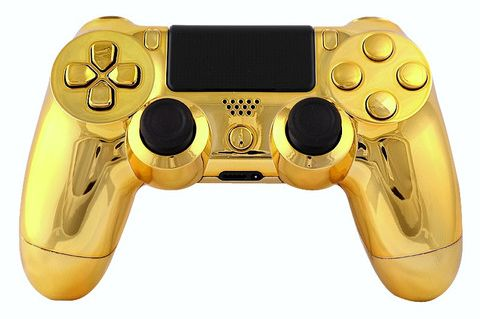 "This is our Limited ""Gold"" PlayStation 4 Modded Controller. It is a perfect gift for a special gamer in your life. Order yours today at: http://moddedzone.com/ You can also visit our eBay store at: http://stores.ebay.com/moddedzone/"