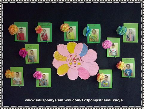 Dzień Mamy- Kartka zdjęcie, z papierowym kwiatem.